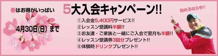 春の5大入会キャンペーン